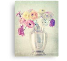 Ranunculas in Silver Vase Canvas Print