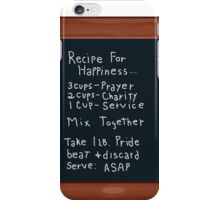 Chalk Board Recipe For Happiness iPhone Case/Skin
