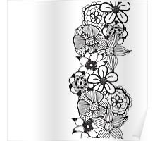 Black and White Floral Outline Poster
