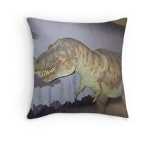 Dummy of a dinosaur inside a museum in London Throw Pillow