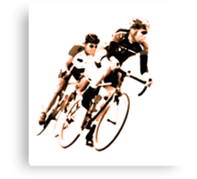 Cyclists into the Curve - High Contrast Sepia Canvas Print