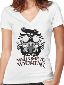 Tribal moose t-shirt Women's Fitted V-Neck T-Shirt