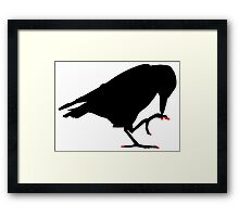 Crow with red pixel nails  Framed Print
