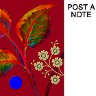 Poster/Note-Board, &#x27;Flaming Leaves with Golden Blossoms&#x27; by luvapples downunder/ Norval Arbogast