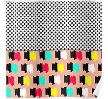 Colorful Retro Painted Brush Stroke Polka Dots Poster