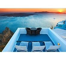 Sunset in Santorini Greece with view to Caldera Photographic Print