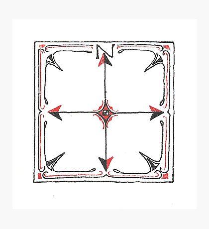 Hand Drawn Compass Photographic Print