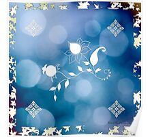 Blue Flowers Scarf Poster
