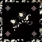 Black Flowers Scarf by Yannik Hay
