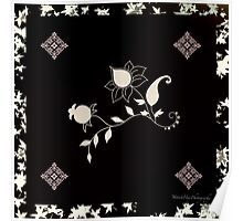 Black Flowers Scarf Poster