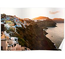 Sunrise in Beautiful Village of Santorini, Greece Poster