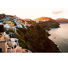 Sunrise in Beautiful Village of Santorini, Greece Photographic Print
