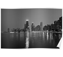 Chicago Lakefront B&W Poster