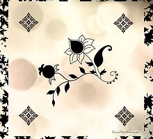 Cream Flowers Scarf by Yannik Hay
