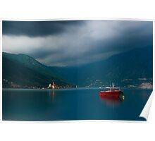 Peaceful Scene at the Bay of Kotor in Perast, Montenegro Poster