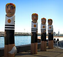 Surf Life Savers of another era, Bollards at Eastern Beach by BerryMak