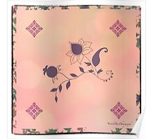 Pink Flowers Scarf Poster