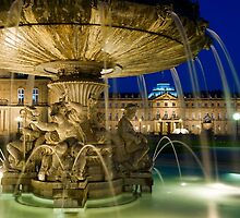 Fountain at Schlossplatz - Stuttgart, Germany by Yen Baet