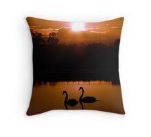 Two Black Swans Throw Pillow