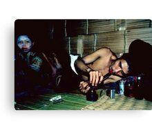Opium addict and girl Canvas Print