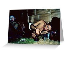 Opium addict and girl Greeting Card