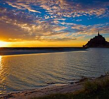 Sunset at Mont St. Michel - Normandy, France by Yen Baet