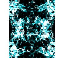 Electrifying blue sparkly triangle flames Photographic Print