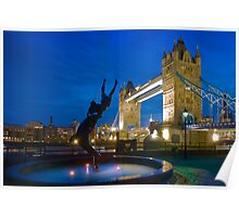 Tower Bridge and the Dolphin Rider - London, England Poster