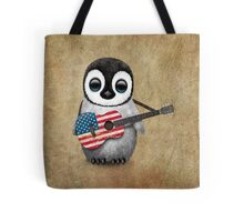 Baby Penguin Playing American Flag Guitar Tote Bag