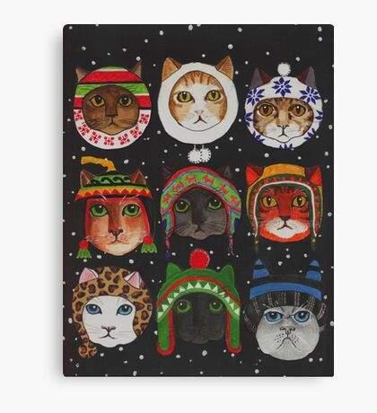 Cats in Winter Hats Canvas Print