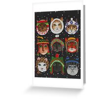 Cats in Winter Hats Greeting Card