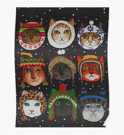 Cats in Winter Hats Poster