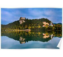Reflections in Lake Bled, Slovenia Poster