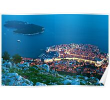 Walled City View of Dubrovnik, Croatia Poster