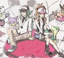 Another version of N, Hilda and Unova Starters by The-Dreamer