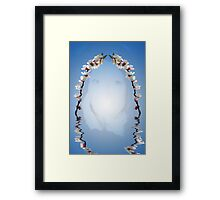 Beautiful woman and cherry blossom reflection Framed Print