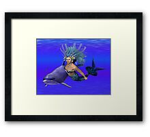 Princess of the oceans .. swimming with dolphins Framed Print