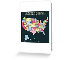 Kawaii States of America Greeting Card