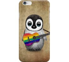 Baby Penguin Playing Gay Pride Rainbow Flag Guitar iPhone Case/Skin