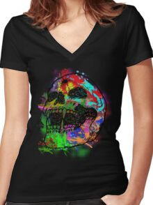 Colorful Skull Women's Fitted V-Neck T-Shirt