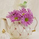 A Tea Pot Of Pink Daisies  by Sandra Foster
