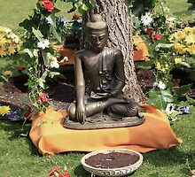 Buddha Garden Greeting Card by simpsonvisuals