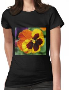 Amber and Gold Pansy Close-up Womens Fitted T-Shirt