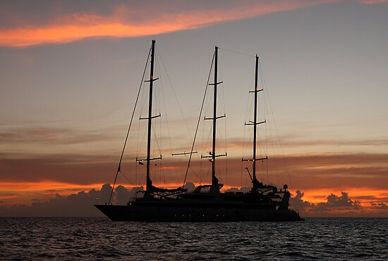 Le Ponant At Sunset by Gina Ruttle  (Whalegeek)