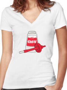 Nerd Paste Women's Fitted V-Neck T-Shirt