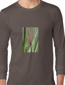 Beautiful Red Skimmer or Firecracker Dragonfly Long Sleeve T-Shirt