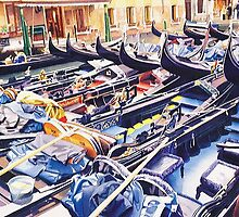 """Valet Parking"" Gondolas Watercolor by Paul Jackson"