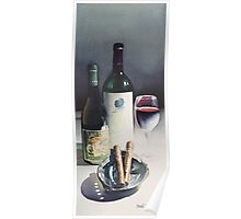 """""""Wine & Cigars"""" Watercolor Poster"""