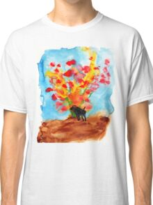 Black dog with Blooming Spring Tree Classic T-Shirt