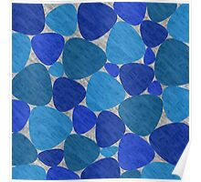 Shades of Blue Geometric Pattern Poster